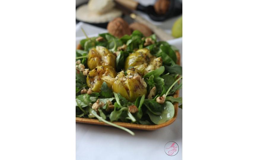 Salade de figues rôties au miel, St Marcellin et noix